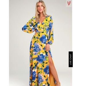 Lulus floral yellow long sleeve maxi dress